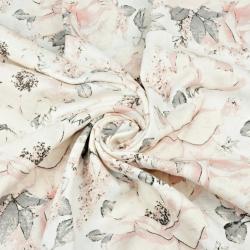 Tkanina Muślin bawełniany dzika róża różowa na białym tle
