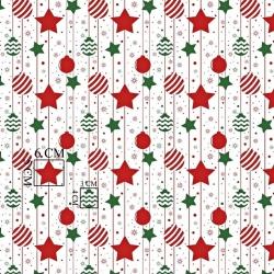 Tkanina Wzór świąteczny łańcuchy bombek i gwiazd czerwono zielone