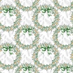 Tkanina Wzór świąteczny wianki złoto zielone na białym tle