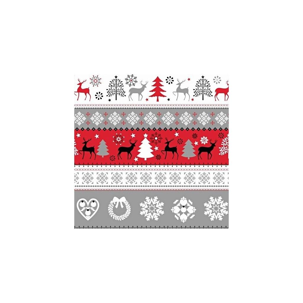 Tkanina Wzór świąteczny sweter szaro czerwono czarny na białym tle