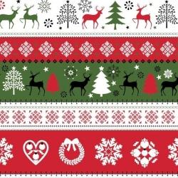 Tkanina Wzór świąteczny sweter zielono czerwono czarny na białym tle
