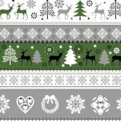 Tkanina Wzór świąteczny sweter zielono szaro czarny na białym tle