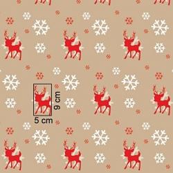 Tkanina Wzór świąteczny renifery ze śnieżynkami na beżowym tle
