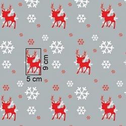 Tkanina Wzór świąteczny renifery ze śnieżynkami na szarym tle