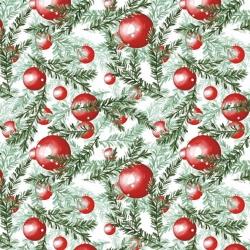 Imagén: Tkanina Wzór świąteczny czerwone bombki z gałązkami na białym tle