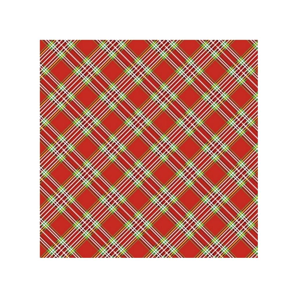 Tkanina Wzór świąteczny krata na czerwonym tle