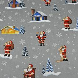Tkanina wzór świąteczny mikołaje z domkami na szarym tle