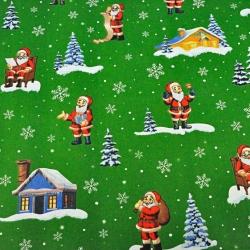 Imagén: Tkanina wzór świąteczny mikołaje z domkami na zielonym tle