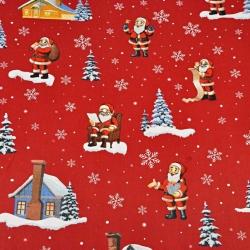 Tkanina wzór świąteczny mikołaje z domkami na czerwonym tle