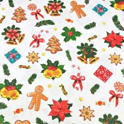 Imagén: Tkanina wzór świąteczny z ciasteczkami na białym tle