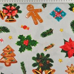 Tkanina wzór świąteczny z ciasteczkami na szarym tle