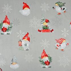 Tkanina wzór świąteczny skrzaty ze posrebrzonymi śnieżynkami na szarym tle