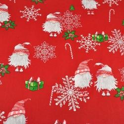 Imagén: wzór świąteczny skrzaty w parach ze posrebrzonymi śnieżynkami na czerwonym tle