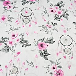 Imagén: kwiaty róże z łapaczem snów różowo szare na białym tle