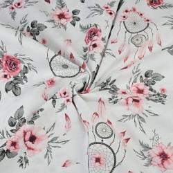 kwiaty róże z łapaczem snów czerwono szare na białym tle