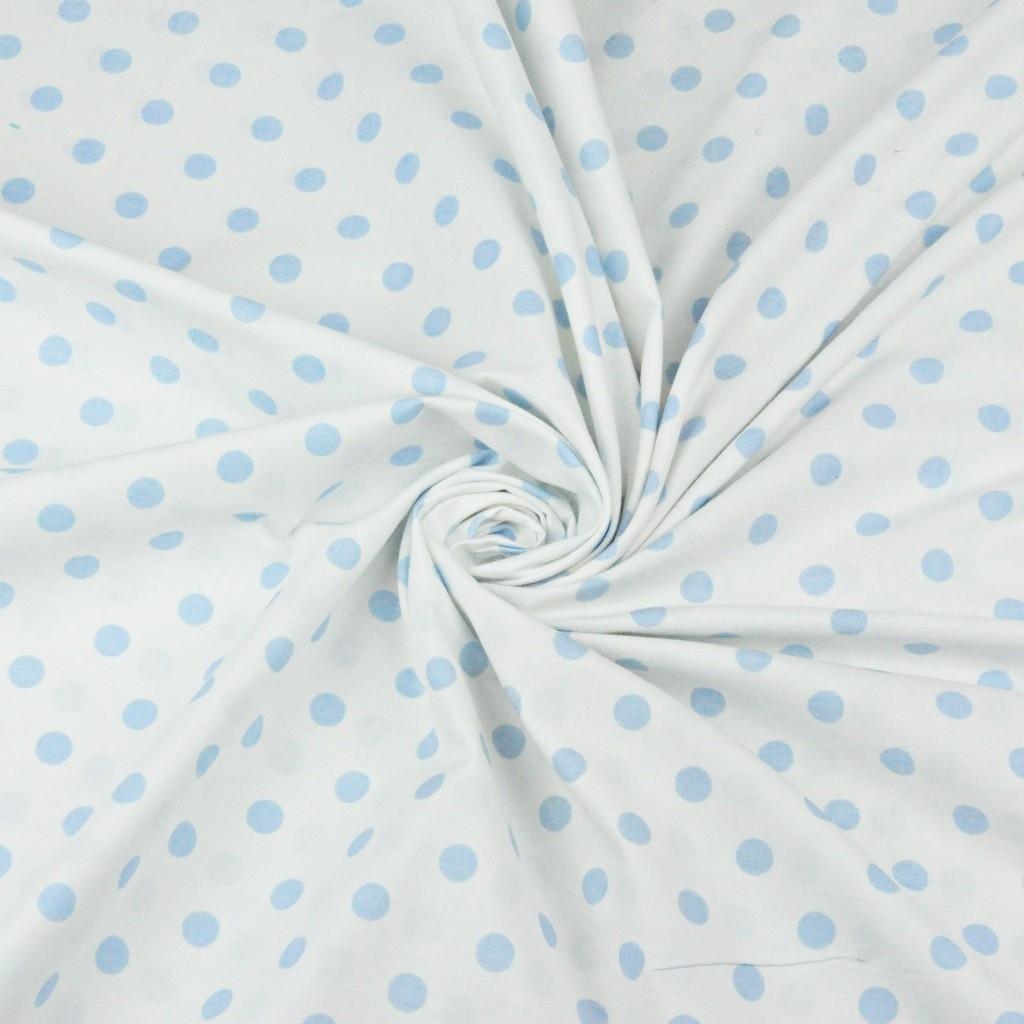 Bawełna grochy niebieskie na białym tle