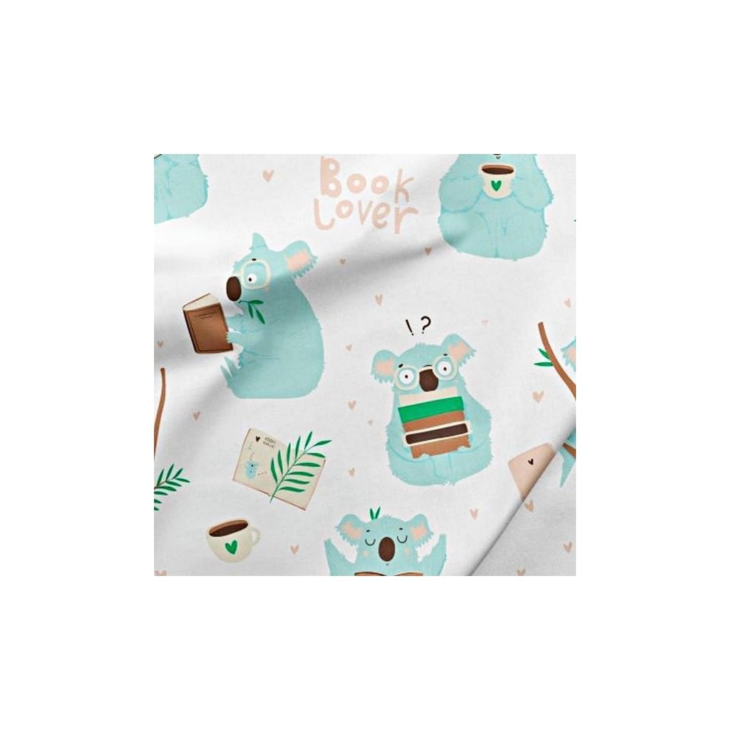 Bawełna Koala miętowy w bibliotece na białym tle