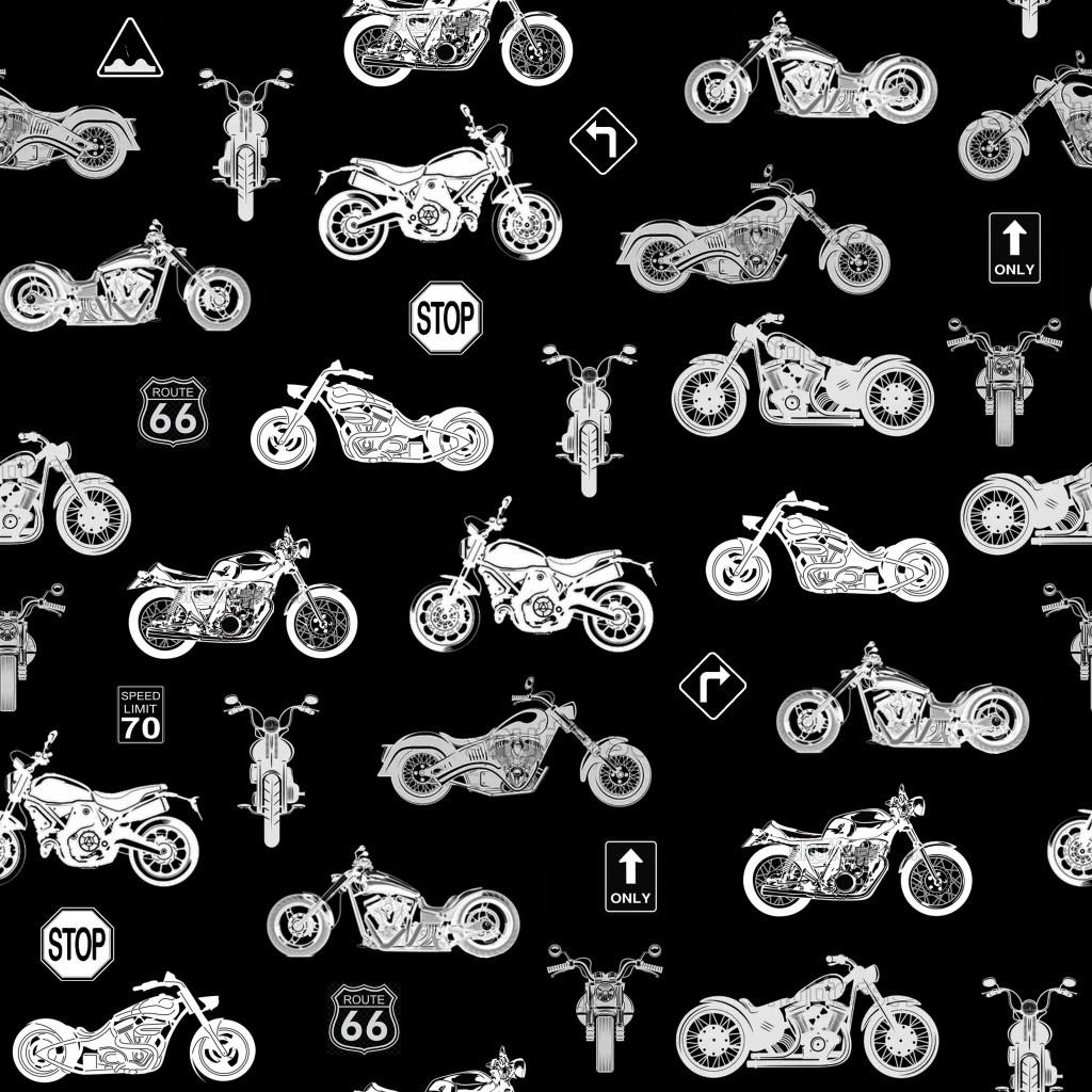 Bawełna motocykle małe białe na czarnym tle