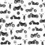 Bawełna motocykle małe czarne na białym tle