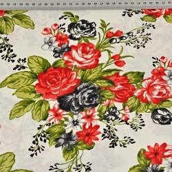 kwiaty róże czerwono czarne na ecru tle