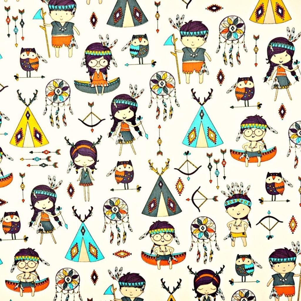 kolorowi Indianie na ecru tle