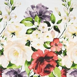 kwiaty duże fioletowo - czerwono - ecru na białym tle