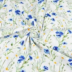 kwiaty chabry i rumianki na białym tle 220cm