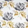 Bawełna aa kwiaty duże malowane szaro - złote białym tle 220cm