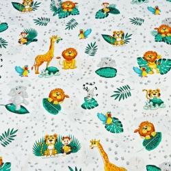 zwierzątka afrykańskie z szmaragdowymi liśćmi na białym tle - PREMIUM