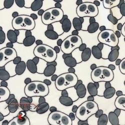 Tkanina Polar plus szare Pandy na białym tle