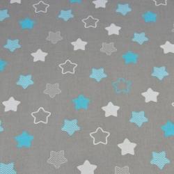 gwiazdki piernikowe biało turkusowe na szarym tle