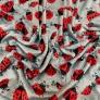 Tkanina Polar plus biedronki czerwone na szarym tle