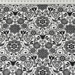 Kwiaty haftowane z ptaszkiem czarne na białym tle