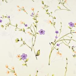 Kwiaty na gałązkach fioletowo łososiowe na waniliowym tle
