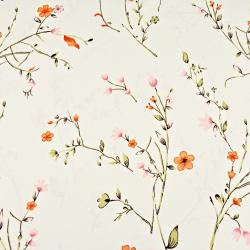 Kwiaty na gałązkach czerwono różowe na waniliowym tle