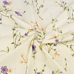 Bawełna aa Kwiaty na gałązkach fioletowo łososiowe na waniliowym tle - 220cm