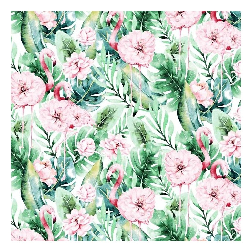 Bawełna flamingi w liściach monstera z kwiatami na białym tle