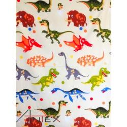 Tkanina Dinozaury kolorowe