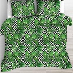 Imagén: liście palmowe zielone na czarnych rombach na białym tle - 220cm