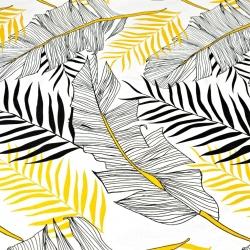 Liście bananowca złoto-czarne na białym tle - 220cm