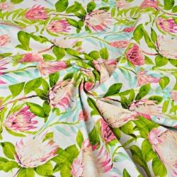 Kwiaty różowe protea z zielonymi liśćmi na białym tle