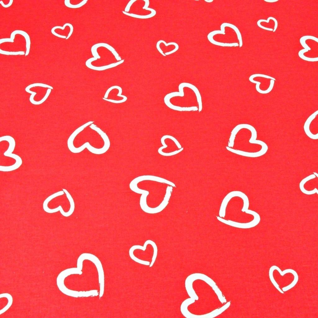 Tkanina serca kontury białe na czerwonym tle