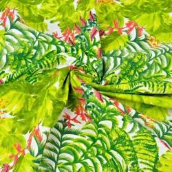 liście zielone palmowe ze storczykiem różowy na białym tle - 220cm